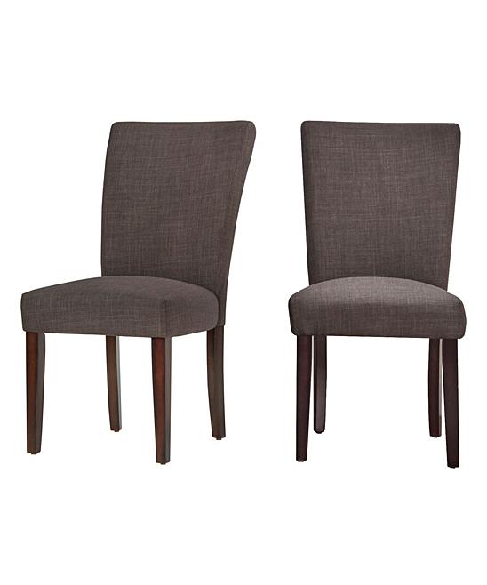 HomeBelle Dark Gray Linen Parsons Side Chair Set of Two