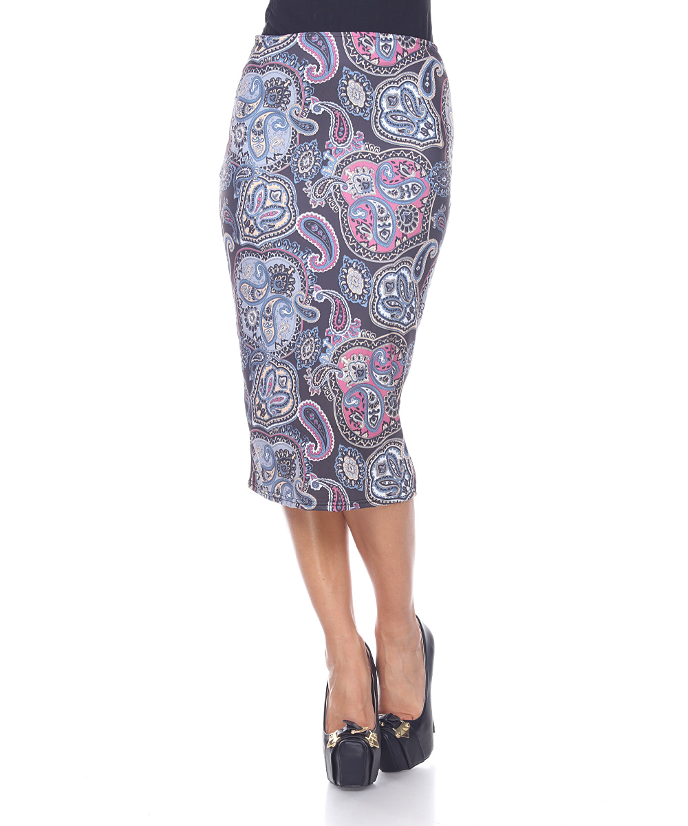 white purple paisley pencil skirt zulily