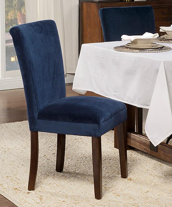 HomePop Navy Velvet Parson Dining Chair Set of Two