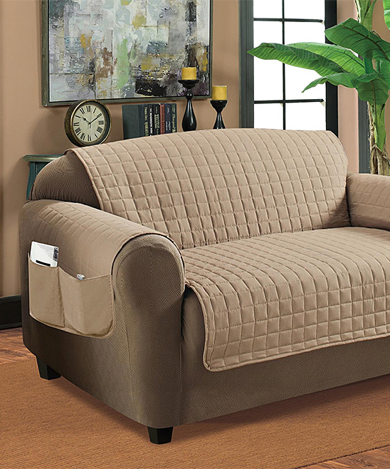 Home Sweet Home Dreams Taupe Quilted Microsuede Furniture Protector Zulily