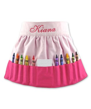 Hot Pink Personalized Crayon Apron