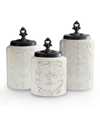 White Antique Canister Set