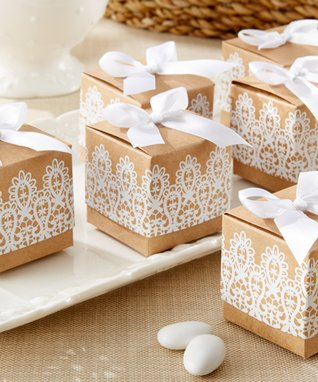 Rustic & Lace Craft Favor Box - Set of 24