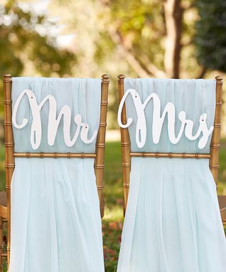 Silver Shimmer 'Mr' and 'Mrs' Chair Signs
