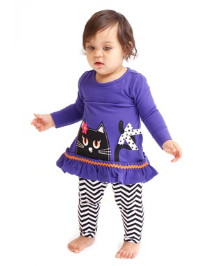 Purple Cat Ruffle Top & Leggings - Infant, Toddler & Girls