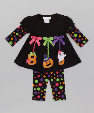 Black 'Boo' Dress & Leggings - Infant, Toddler & Girls