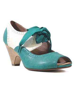 Teal & White Julia Pump