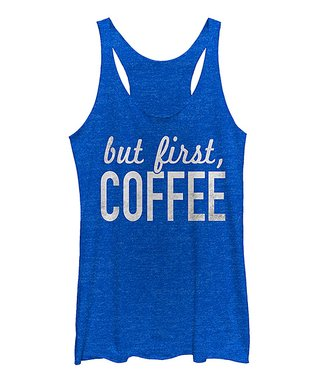 Royal Heather 'But First Coffee' Raw-Edge Racerback Tank