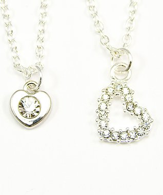 Silvertone Rhinestone Heart Necklace & Doll Necklace