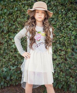 White Wildflower Overlay Dress - Toddler & Girls