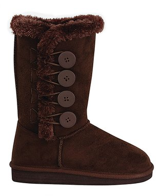 Brown Button Aling Boot
