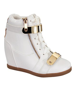 White & Gold Band Gladys Bootie