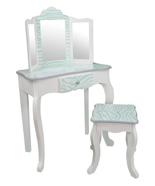 Aqua & White Zebra Vanity Table & Stool Set