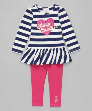 Navy Stripe Heart Tunic & Leggings - Infant & Toddler