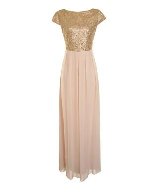 Nude & Gold Sequin Jade Dress