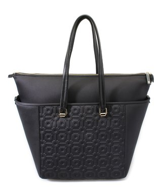 Black Embossed Leather-Trim Shopper