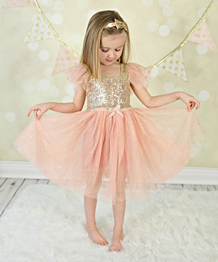 Vintage Pink & Gold Sequin Dress - Infant, Toddler & Girls