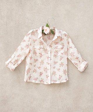 Cream & Pink Jasmine Button-Up - Toddler & Girls