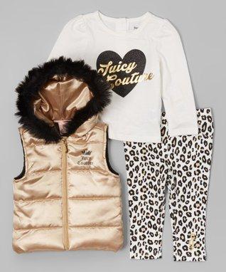 Gold & Black Puffer Vest Set - Infant