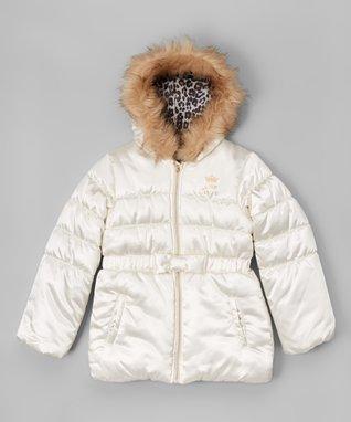 White Faux Fur Hood Puffer Jacket - Infant, Toddler & Girls