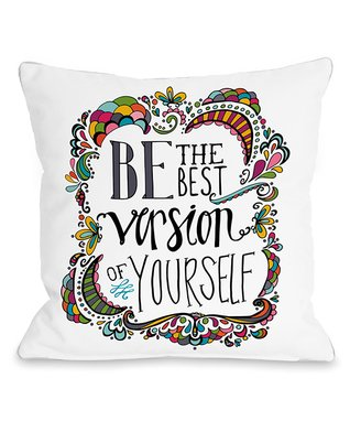 White & Yellow 'Best Version of Yourself' Pillow