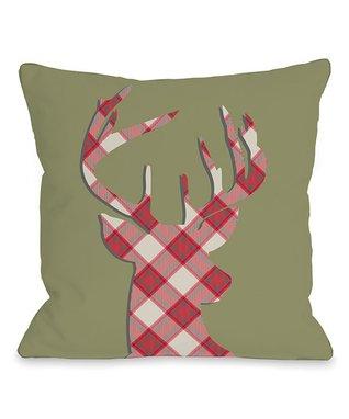 Plaid & Green Deer Silhouette Pillow
