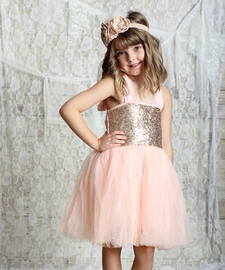 Pink & Gold Sparkle Halter Dress - Infant, Toddler & Girls