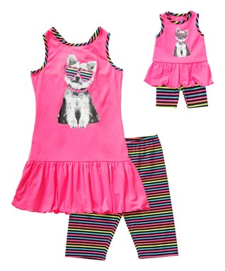 Pink Puppy Ruffle Tank Set & Doll Outfit - Girls