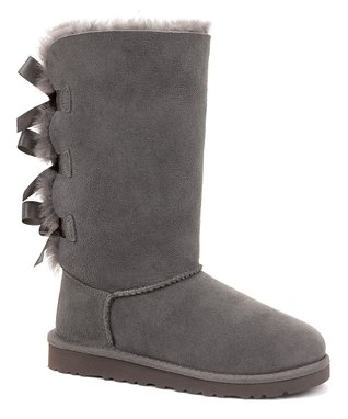 Gray Bailey Bow Tall Boot - Kids