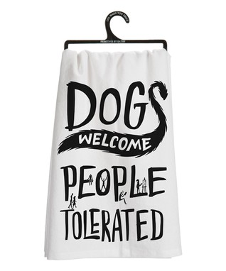 'Dogs Welcome' Dish Towel