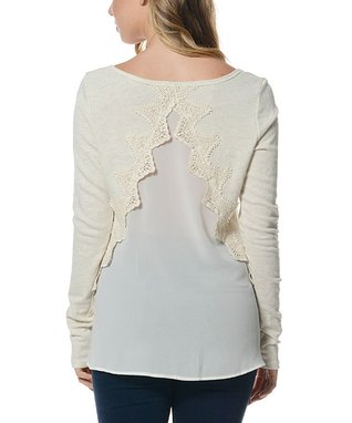 Oatmeal Lace-Trim Contrast-Back Top