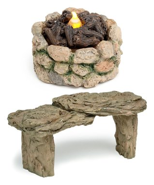 Fire Pit & Stone Bench Figurine Set