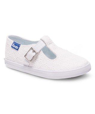 White Eyelet Strappy T-Strap Sneaker
