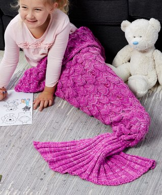 Bright Pink & Light Pink Scaled Mermaid Tail Blanket - Kids