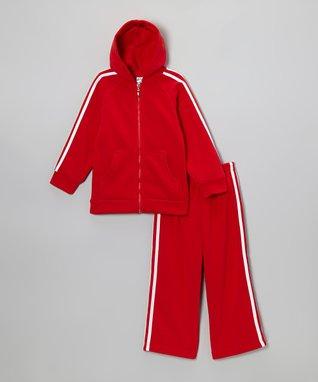 Red & White Stripe Zip-Up Hoodie & Pants - Boys