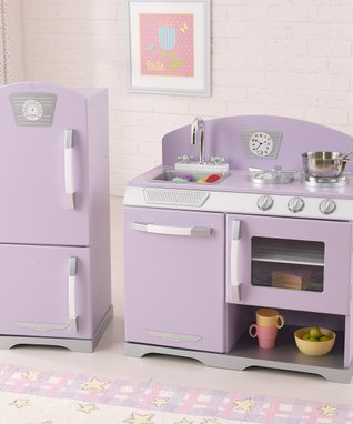 Lavender Stove & Refrigerator Retro Kitchen Set