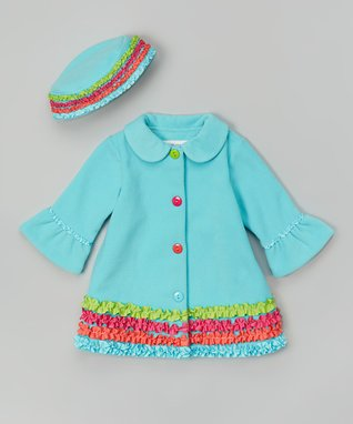 Turquoise Ruffle Hat & Coat - Infant, Toddler & Girls