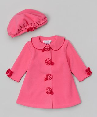 Fuchsia Rosette Hat & Coat - Girls
