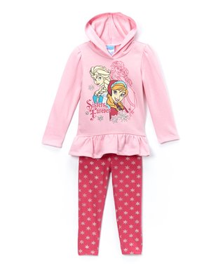 Pink Frozen 'Sisters' Hooded Tunic & Leggings - Girls