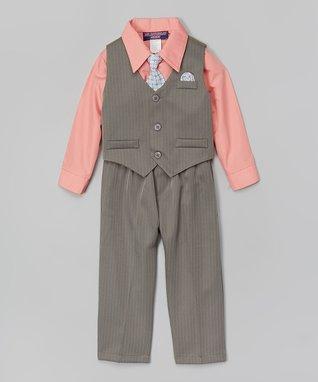 Pink & Charcoal Four-Piece Vest Set - Infant
