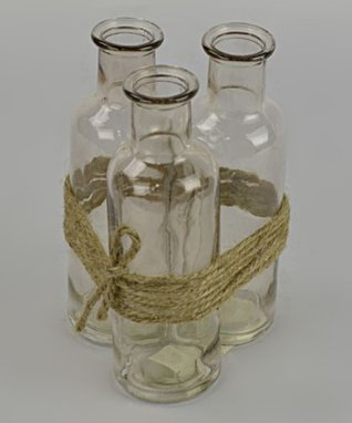 Rope Wrapped Glass Bottle Vase Set