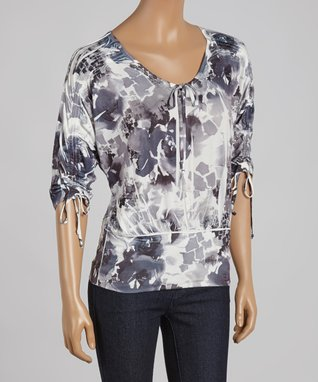 Simply Irresistible Gray Floral Sublimation V-Neck Tee - Women
