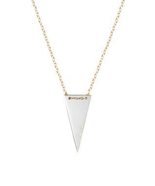 Two-Tone 'Strength' Triangle Pendant Necklace