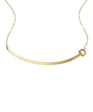 Gold Initial Arch Necklace