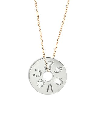 Two-Tone Lucky Symbols Pendant Necklace