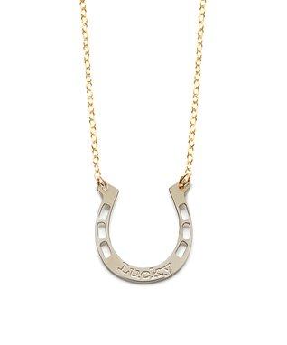 Two-Tone 'Lucky' Horseshoe Pendant Necklace
