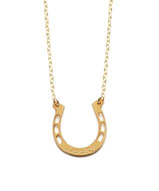 Gold 'Lucky' Horseshoe Pendant Necklace