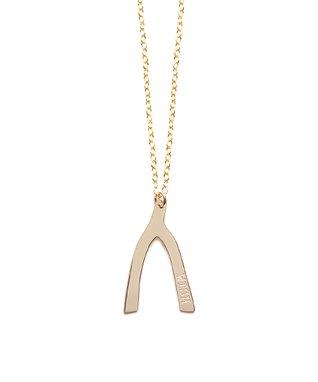 Gold Wishbone Pendant Necklace