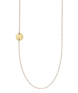 Gold Side Station Initial Necklace