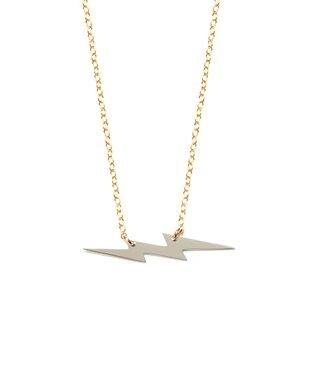Two-Tone Lightning Bolt Pendant Necklace